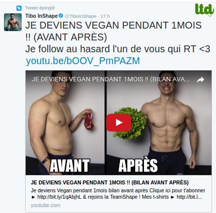 "Tibo in shape : ""je deviens vegan  pendant 1 mois!! (avant après)"""