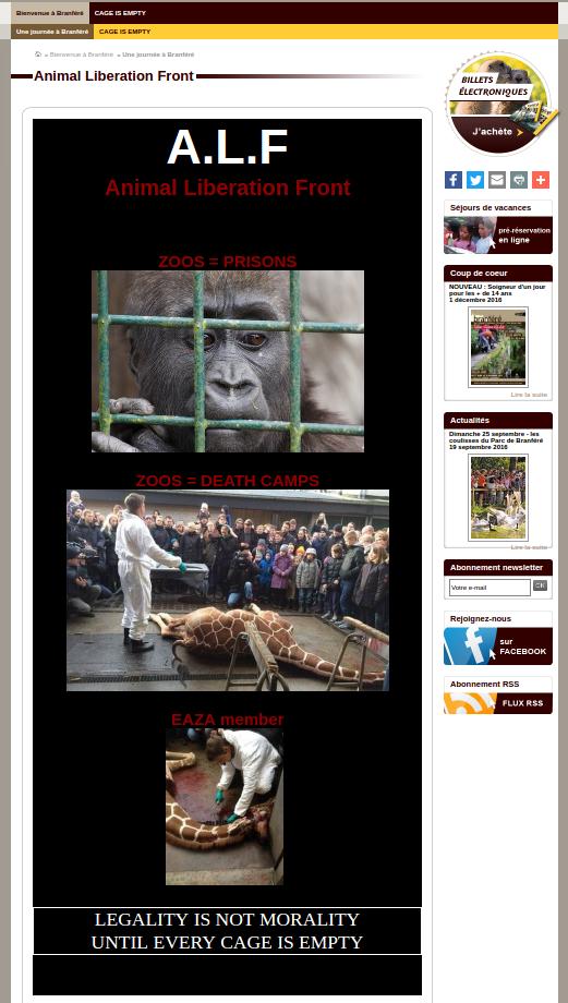 L'ALF hacke le site du parc animalier de Branféré
