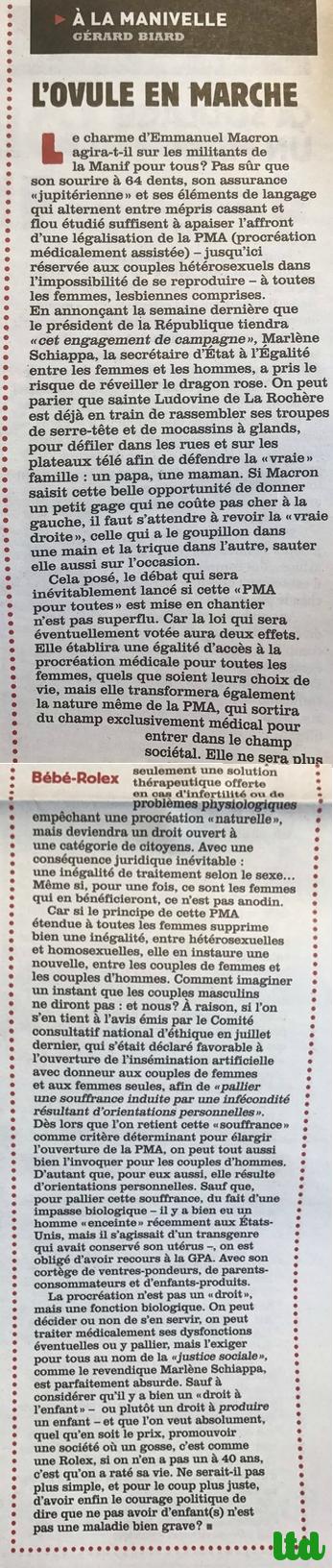 Charlie Hebdo prend partie contre la PMA pour toutes