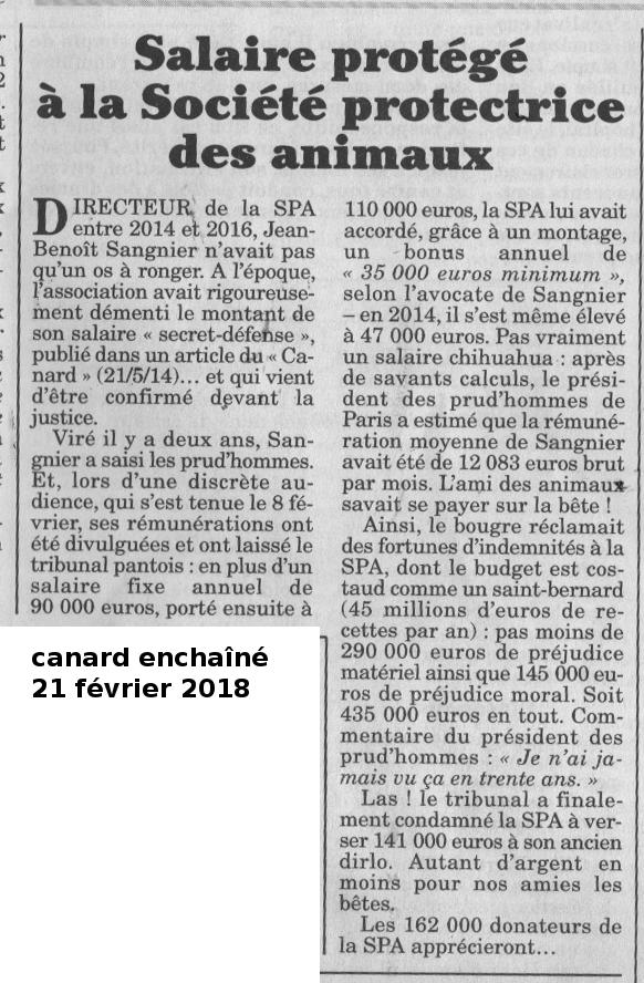 """""""Salaire protégé à la Société protectrice des animaux"""""""