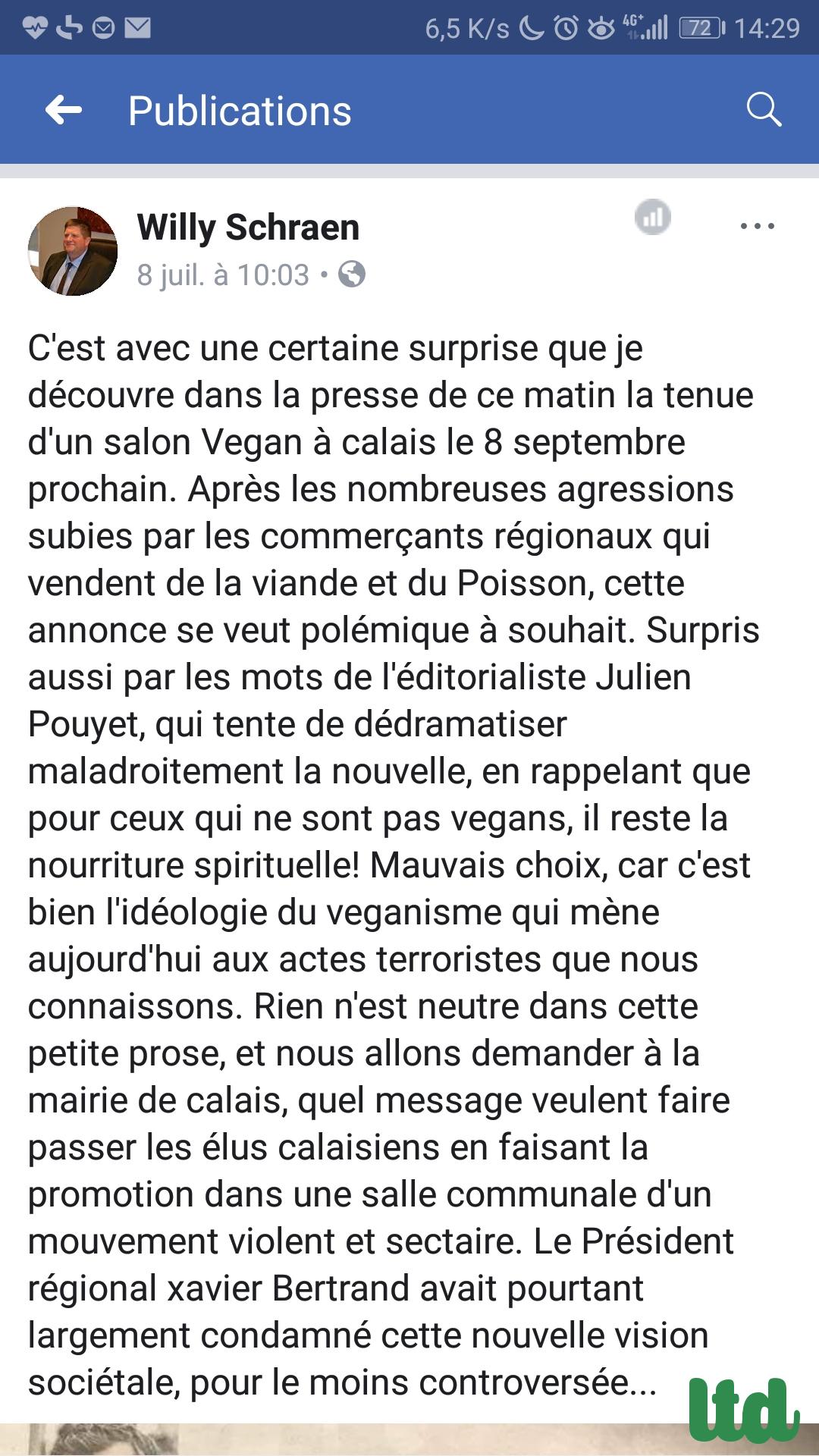 Le festival vegan de Calais annulé par l'Etat devant les menaces de violence des bouchers-charcutiers et chasseurs