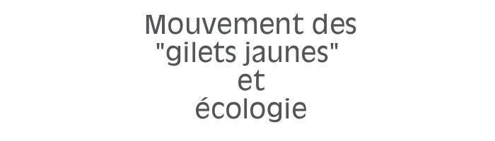 Mouvement des « gilets jaunes » et écologie
