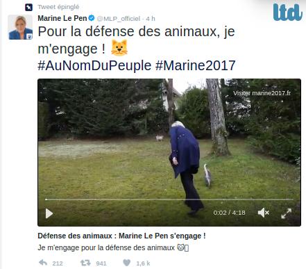"""Marine Le Pen """"pour la défense des animaux"""""""