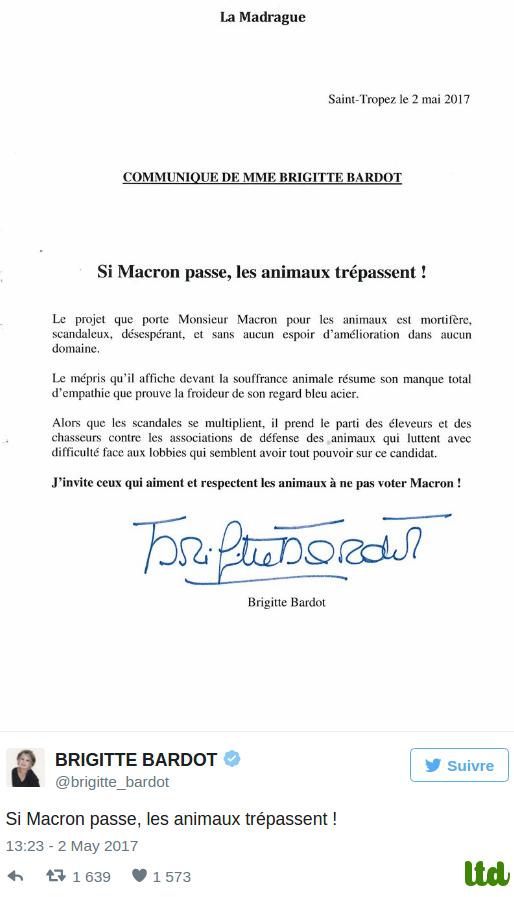 """Brigitte Bardot : """"Si Macron passe, les animaux trépassent!"""""""