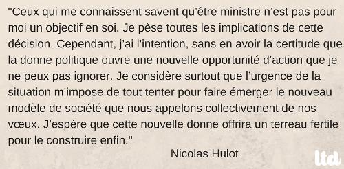 Nicolas Hulot, ministre d'État de la Transition écologique et solidaire