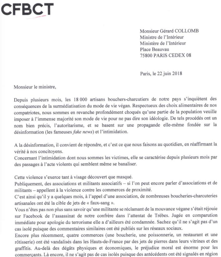 La Confédération française de la boucherie, boucherie-charcuterie, traiteurs contre le véganisme