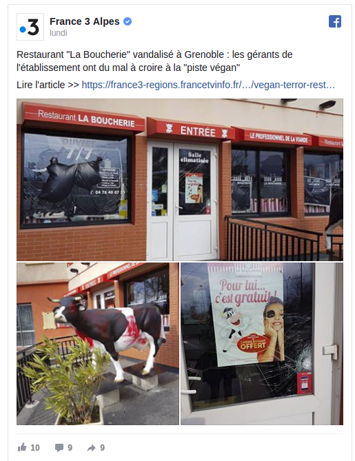 """Vegan terror"" à Grenoble"