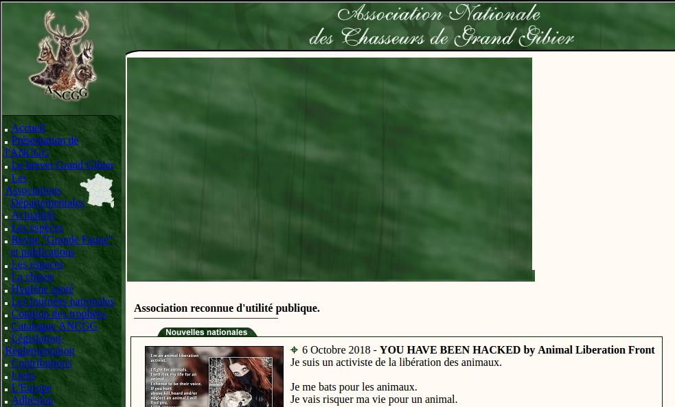 Piratage de l'Association Nationale des Chasseurs de Grand Gibier et communiqué du Haut-Valromey