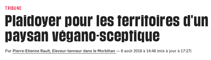 Plaidoyer pour les territoires d'un paysan végano-sceptique - Libération